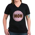 Polka Dot Maid of Honor Women's V-Neck Dark T-Shir