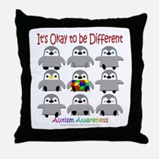 Autism Awareness Penguins Throw Pillow