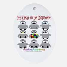 Autism Awareness Penguins Oval Ornament