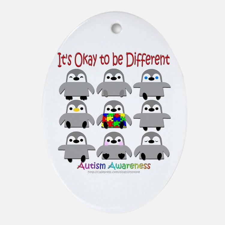Autism Awareness Penguins Oval Ornament