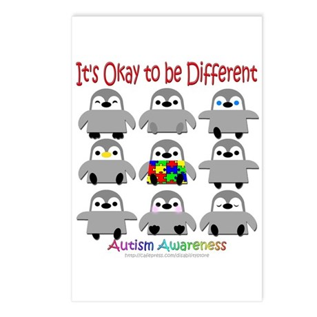 Autism Awareness Penguins Postcards (Package of 8)