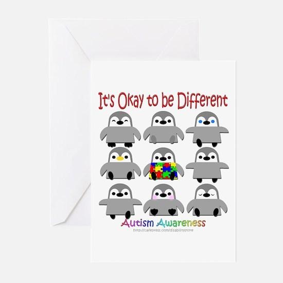 Autism Awareness Penguins Greeting Cards (Pk of 10