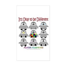 Autism Awareness Penguins Rectangle Decal