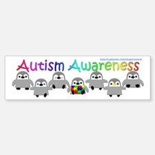 Autism Awareness Penguins Bumper Car Car Sticker