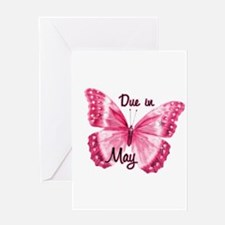 Due May Sparkle Butterfly Greeting Card