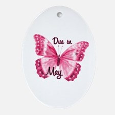 Due May Sparkle Butterfly Oval Ornament
