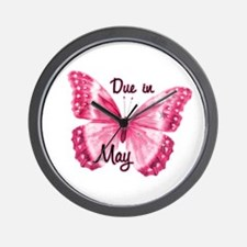 Due May Sparkle Butterfly Wall Clock