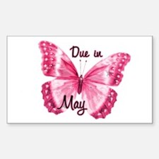 Due May Sparkle Butterfly Rectangle Sticker 10 pk