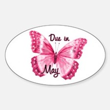 Due May Sparkle Butterfly Oval Sticker (50 pk)