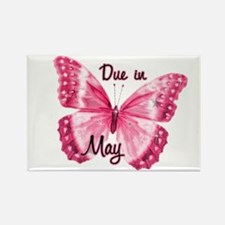 Due May Sparkle Butterfly Rectangle Magnet