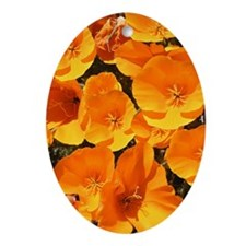 Helaine's California Poppies Oval Ornament