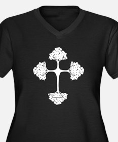 Cross Trees Women's Plus Size V-Neck Dark T-Shirt