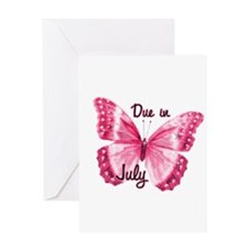 Due July Sparkle Butterfly Greeting Card