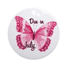 Due July Sparkle Butterfly Ornament (Round)
