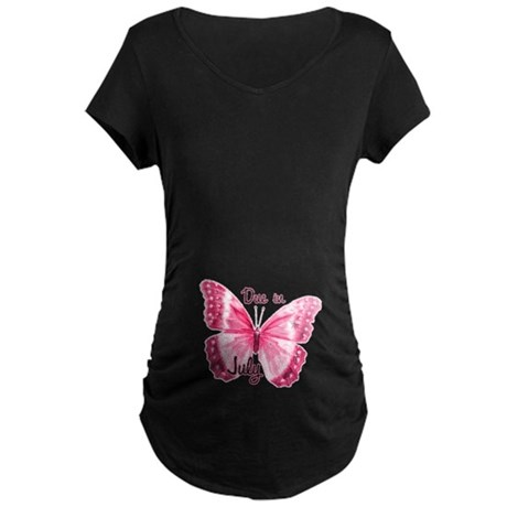 Due July Sparkle Butterfly Maternity Dark T-Shirt