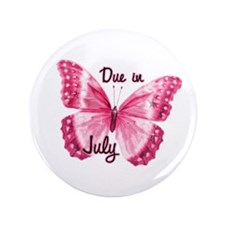 """Due July Sparkle Butterfly 3.5"""" Button"""