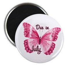 "Due July Sparkle Butterfly 2.25"" Magnet (10 pack)"