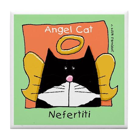 NEFERTITI Tuxedo Cat Angel Memorial Tile Coaster