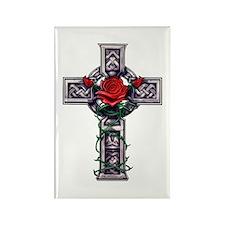 Cross Celtic Rose Rectangle Magnet