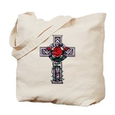 Cross Celtic Rose Tote Bag
