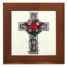 Cross Celtic Rose Framed Tile