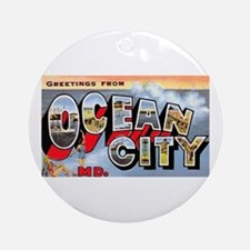 Ocean City Maryland Greetings Ornament (Round)