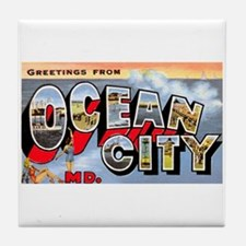 Ocean City Maryland Greetings Tile Coaster