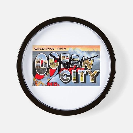Ocean City Maryland Greetings Wall Clock