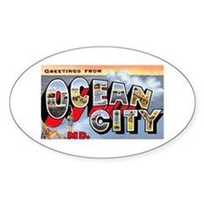 Ocean City Maryland Greetings Oval Decal