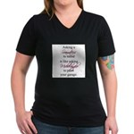 Asking a Seamstress to Mend Women's V-Neck Dark T-