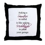 Asking a Seamstress to Mend Throw Pillow
