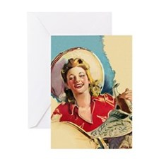 Hot Cowgirl Greeting Card