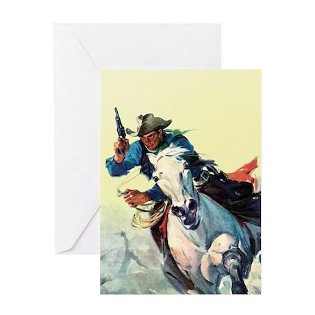 Fast Horse Cowboy Greeting Card