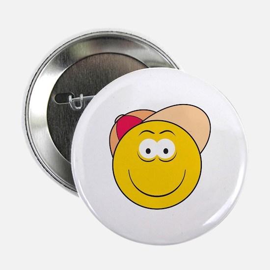 """Baseball Hat Smiley Face 2.25"""" Button"""