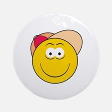 Baseball Hat Smiley Face Ornament (Round)