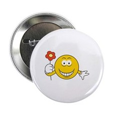 """Smiley Face with Flower 2.25"""" Button"""