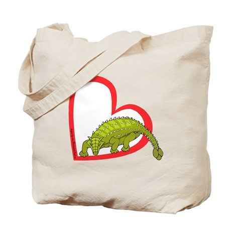 Heart Ankylosaurus Tote Bag