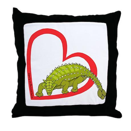 Heart Ankylosaurus Throw Pillow