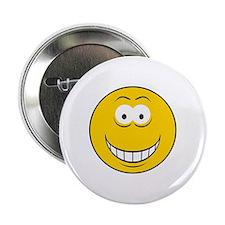 """Big Grin Smiley Face 2.25"""" Button"""