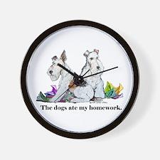 Fox Terrier Dog Trouble Wall Clock