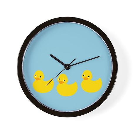 Duckies In A Row Wall Clock