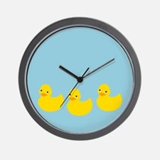 Duckies In A Row Wall Clock