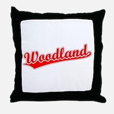 Retro Woodland (Red) Throw Pillow