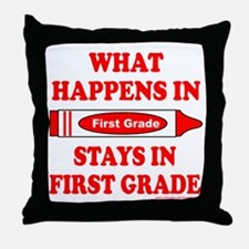 WHAT HAPPENS IN FIRST GRADE Throw Pillow