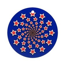 Patriotic Spiral Stars Ornament (Round)