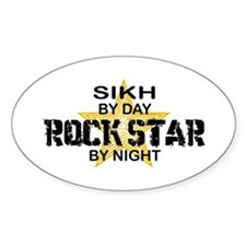 Sikh Rock Star by Night Oval Decal