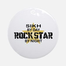 Sikh Rock Star by Night Ornament (Round)