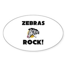Zebras Rock! Oval Decal