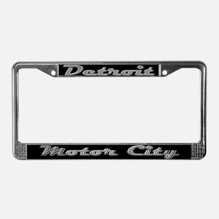Detroit Motor City retro chrome License Plate Fram