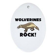 Wolverines Rock! Oval Ornament